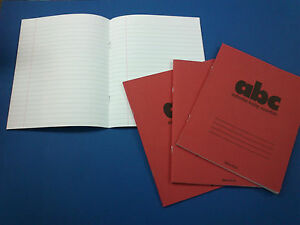 Exercise Book 48 Pages Feint Lined 8 x 6.5 inch Red Cover Pack of 4 FREE POSTAGE