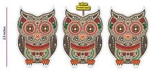 Sugar Skull Day of the Dead OWL 3 pack Sticker Dia de los Muertos Mexican DOD25