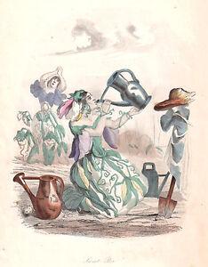 """GRANDVILLE """"SWEET PEA"""" 1849 vintage original hand painted engraving"""