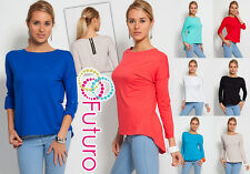 Trendy Women's Top Pocket & Zipper Crew Neck Blouse Jumper Size 8-12 8076