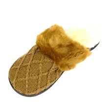 Dearfoam Womens Sweater Knit Scuff Slippers Large (9-10) Chestnut