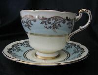 PARAGON Fine China Teacup Tea Cup Saucer Antique Rose Vintage Blue w/ Gold Trim