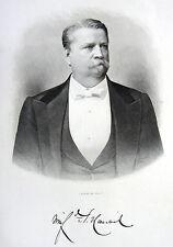 Civil War Union General WINFIELD SCOTT HANCOCK ~ Old 1881 Art Print Engraving