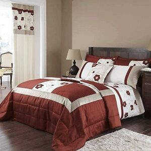 CREAM PAPRIKA DOUBLE KING SUPER KING 66X72 CURTAINS OR 45cmX45cm C/COVER ALICIA