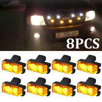 Set 8x 2LED Car Truck Emergency Warning Strobe Lights Bars Dash Grill Amber Lamp