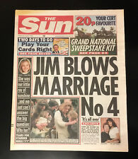 """VINTAGE THE SUN NEWSPAPER (APRIL 6, 1994) JIM BLOWS MARRIAGE No 4 """"IT'S ALL OVER"""