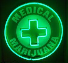 "24"" Medical Marijuana Cross Double Neon Sign *Pot Weed Marijuana"