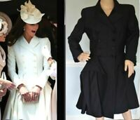 Alexander McQueen 2011 Samurai Ruffle Black Wool Dress Coat Jacket US 8 10 IT 46