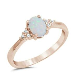 Rose Gold Plated White Opal & Round Cz .925 Sterling Silver Ring
