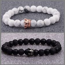 2Pcs Couples Bracelet Set His and Her King and Queen Crown Lava Beads Bracelets