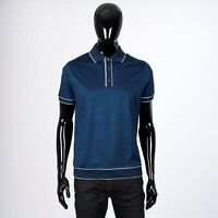 LORO PIANA 550$ Denham Blue Polo Shirt in Soft Lightweight Cotton Jersey