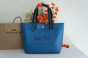 NWT Coach 1896 Horse and Carriage Large Jes Tote Handbag Leather Blue Jay $378