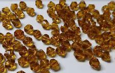 20 perles à facettes verre toupie 6mm ocre //10