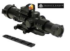 Trinity 1-4x28 Scope + Red Dot Backup Aim Sight + Base Mount Fits Ruger 10/22