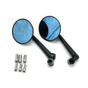 Black Round Scooter CNC Side Mirror Rearview Bar Mirror Anti-glare + Adapters