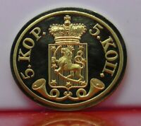 Modern Gold plated 11.3g Silver Stamp Ingot Finland Coat of Arms 5 Kopecks