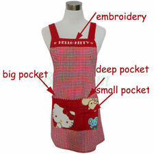 100% Cotton Hello Kitty Apron - Red Check - Embroidery - Lady's KT Kitchen Apron