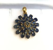 14k Solid Yellow Gold Flower Cluster Pendant, Natural Sapphire 4.20 Grams