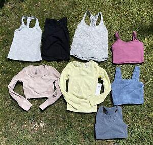 Alo Yoga Lululemon Lot Of 8 Sz Large Bundle Lark Gym Top Crop Shirt