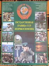 Authentic Rare Soviet USSR Military Propaganda Poster Soviet Border Guards