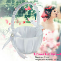 Romantic Pearl Satin Bowknot Wedding Flower Girl Basket White Ceremony Party USA