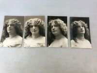 VINTAGE - POSTCARDS - 1900's - LOT OF 4 PHOTOGRAPHS OF A LADY - B & W - NOT USED