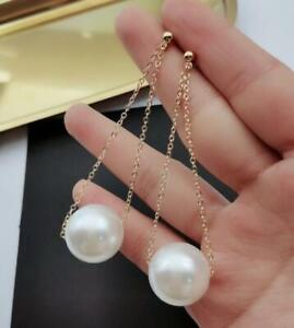 Stunning AAA++ 11-12mm real natural WHITE south sea PEARL EARRING 14K GOLD