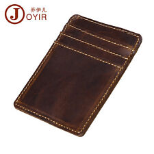 Ultra-Thin Men Leather ID Window Card Cash Holder Slim Front Pocket Money Clip