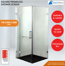 NEW SQUARE FRAMELESS SHOWER SCREEN 10MM TOUGHENED GLASS 750X800X2000 - PICK UP