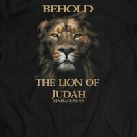 BEHOLD THE LION OF JUDAH CHRISTIAN T-SHIRT MANY SIZES AND COLOR OPTIONS