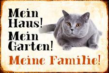 Mein Haus Garten ... Katze Kater Blechschild Schild gewölbt Tin Sign 20 x 30 cm