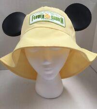 Disney Epcot 2015 Flower & Garden FestIval Yellow Mickey Ear Floppy Hat Cap NWT