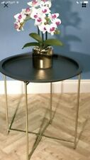 Side Table Gold And Black Metal Bedroom Lounge Hallway Home Round Side Table....