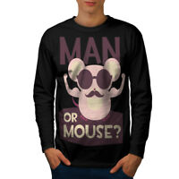 Wellcoda Man Or Mouse Gym Sport Mens Long Sleeve T-shirt, Rodent Graphic Design
