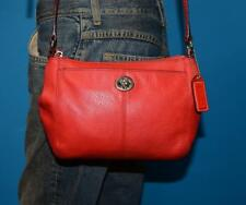 COACH Small RED Leather Swingpack Turn-Lock Crossbody Tote Pouch Purse Bag