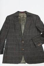 HART SCHAFFNER & MARX 100% Silk Sport Coat/Blazer 44R Charcoal Windowpane Jacket