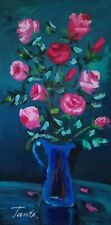 Lena Tants Original Acrylic Painting on Canvas Floral; Hand Signed with COA.