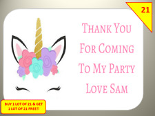 42 Unicorn Personalised Party inspired Labels Stickers Birthday sweet Cones Box