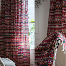 Boho Print Tassel Curtains Living Room Bedroom Window Curtain Drapes Home Decor