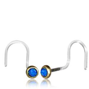 1 TRIBAL BIOPLAST 20G BRASS NOSE STUD NOSE RING EAR BLUE OPAL STONE NOSE PIN