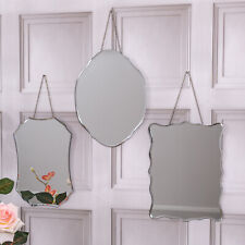Set Of Three Mirrors Wall Hanging Frameless Shabby Vintage Home Chic Glass Trio
