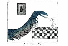 "EDWARD GOREY ""DONALD IMAGINED THINGS"" LARGE 10""x 15"" Wall Art Poster Book Page"