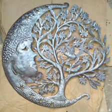 Metal Tree of Life with Moon Wall Art Hanging Decoration Ideas Contemporary, 24""