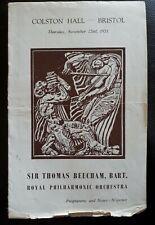 1951 ROYAL PHILHARMONIC ORCHESTRA Concert Programme THOMAS BEECHAM, Colston Hall