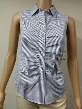NEW FAST to AUS - Anne Klein - Sleeveless Striped Blouse Size 14 - Navy Blue $69