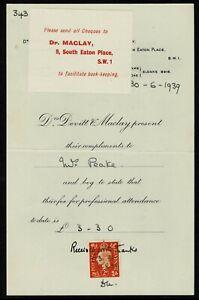 UK 1939 Dr Maclay. Receipt.
