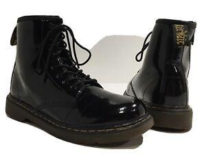 Doc Martens Kids Black Delaney Boots Patent Leather Side Zipper AW004 US Sz. 3