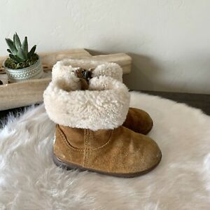 Toddler Girl's Ugg Jorrie II Boots Size 7 Tan Leather Shearling Winter