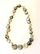 VINTAGE GRADUATED STRAND OF  MOTHER OF PEARL OVAL FLAT BEAD NECKLACE  18in