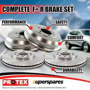 Protex Front + Rear Brake Rotors Drums for Holden Commodore VB VC VL 6Cyl V8